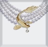 Pearl Choker with Koi Pendant