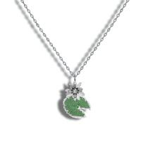 18kt White Gold w/ Diamond, Emeralds