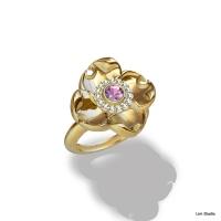 18kt Yellow Gold w/ Pink Sapphire & Diamonds
