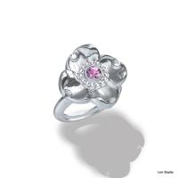 18kt White Gold w/ Pink Sapphire & Diamonds