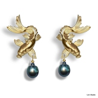 18kt yellow gold, black Tahitian pearls