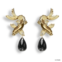 18kt yellow gold, black spinels