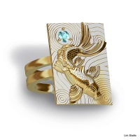 18kt yellow gold, blue topaz