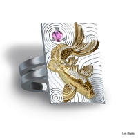 18kt white/yellow gold w/ pink sapphire