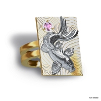 18kt yellow/white gold w/ pink sapphire