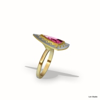 18kt yellow,white gold, pink tourmaline