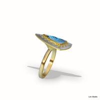 18kt yellow,white gold, blue topaz